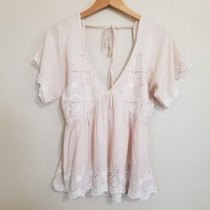 NWOT Miami Embroidered Blouse Top XS